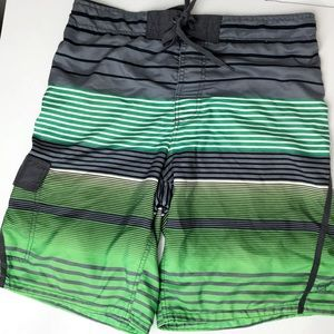 OP Green Black Board Shorts Lined M 32-34